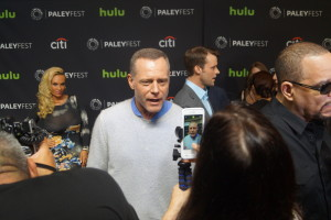Chicago P.D.'s Jason Beghe stops for a snapchat on the red carpet at PaleyFest.