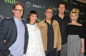 BEVERLY HILLS, CA – April 14, 2016: (L-R) Jere Burns, Rashida Jones, Ira Ungerleider, Hayes MacArthur, and Andree Vermeulen arrive at PaleyLive: An Evening with Angie Tribeca on April 14, 2016 at The Paley Center for Media in Beverly Hills. © Imeh Akpanudosen for the Paley Center