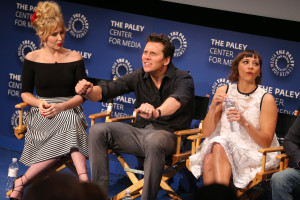 BEVERLY HILLS, CA – April 14, 2016: Andree Vermeulen, Hayes MacArthur, and Rashida Jones speak onstage at PaleyLive: An Evening with Angie Tribeca on April 14, 2016 at The Paley Center for Media in Beverly Hills. © Imeh Bryant for the Paley Center