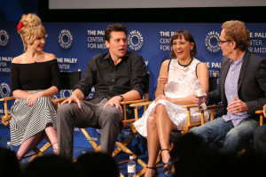 BEVERLY HILLS, CA – April 14, 2016: Andree Vermeulen, Hayes MacArthur, Rashida Jones, and Jere Burns speak onstage at PaleyLive: An Evening with Angie Tribeca on April 14, 2016 at The Paley Center for Media in Beverly Hills. © Imeh Bryant for the Paley Center