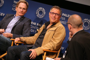 BEVERLY HILLS, CA – April 14, 2016:  Jere Burns, Ira Ungerleider, and Dominic Patten speak onstage at PaleyLive: An Evening with Angie Tribeca on April 14, 2016 at The Paley Center for Media in Beverly Hills. © Imeh Bryant for the Paley Center