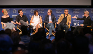 BEVERLY HILLS, CA – April 14, 2016: Andree Vermeulen, Hayes MacArthur, Rashida Jones, Jere Burns, Ira Ungerleider, and Dominic Patten speak onstage at PaleyLive: An Evening with Angie Tribeca on April 14, 2016 at The Paley Center for Media in Beverly Hills. © Imeh Bryant for the Paley Center