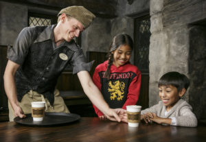 "UNIVERSAL STUDIOS HOLLYWOOD — ""The Wizarding World of  Harry Potter"" — Pictured: ""The Wizarding World of Harry Potter"" at Universal Studios Hollywood adds Hot Butterbeer to its menu of scrumptious fare served at Three Broomsticks and Hog's Head Pub — (Photo by: David Sprague/Universal Studios Hollywood)"