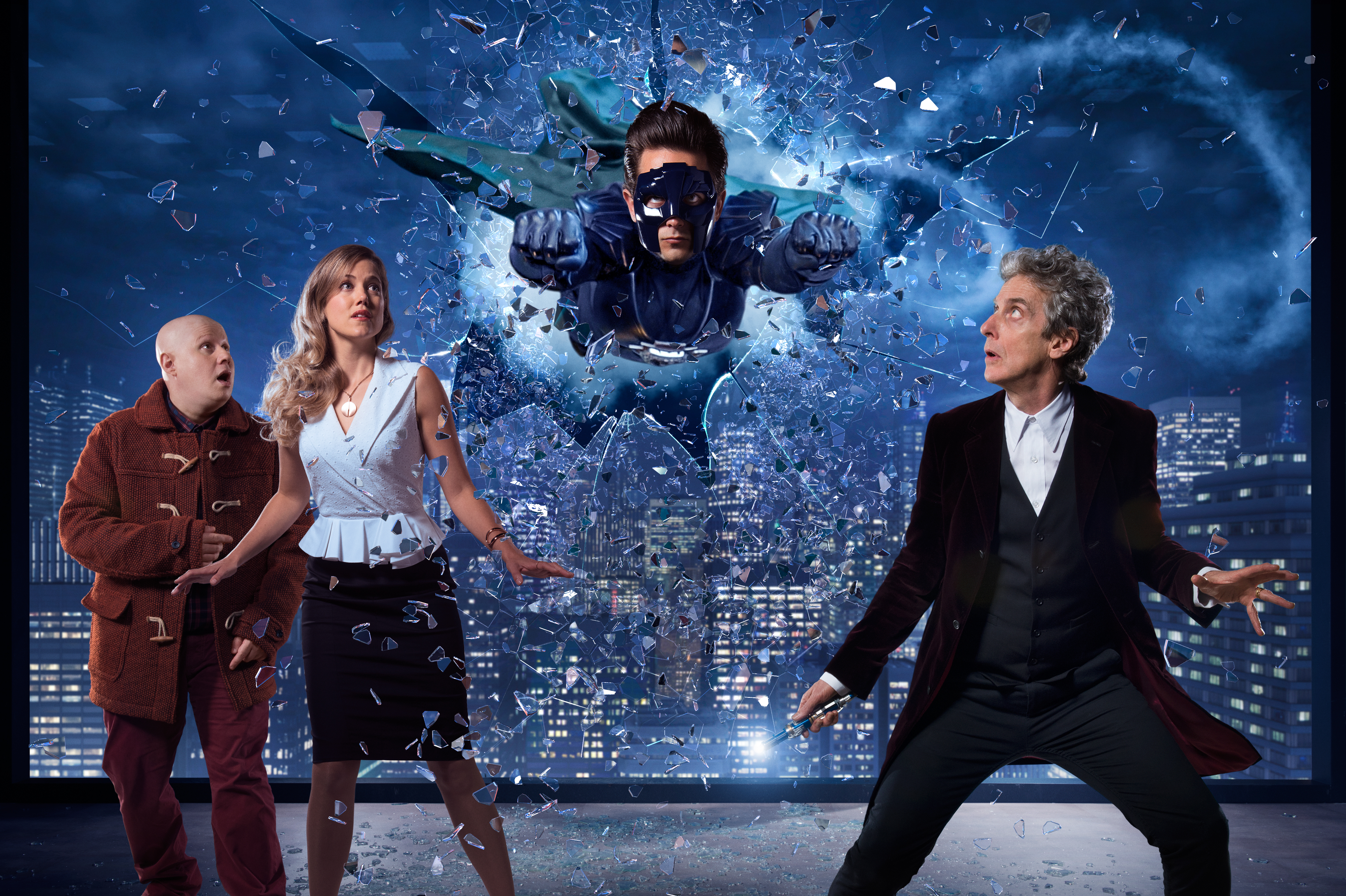 Picture shows: Matt Lucas as Nardole, Charity Wakefield as Lucy, Justin Chatwin as The Ghost and Peter Capaldi as The Doctor
