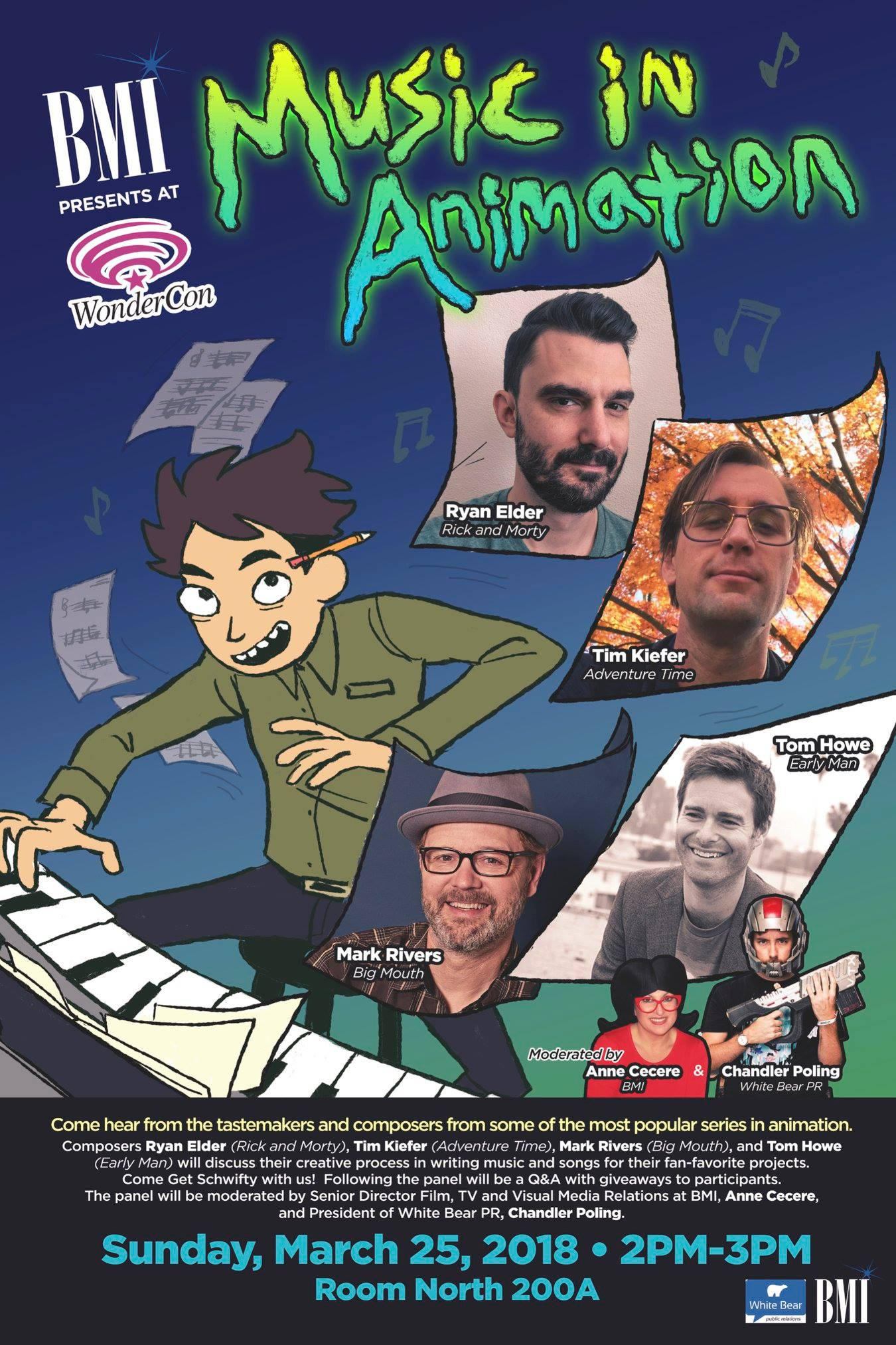 """music in animation Bmi and white bear pr presented its annual fan-favorite """"music in animation"""" panel at wondercon on sunday, march 25 bmi's senior director film, tv and visual."""