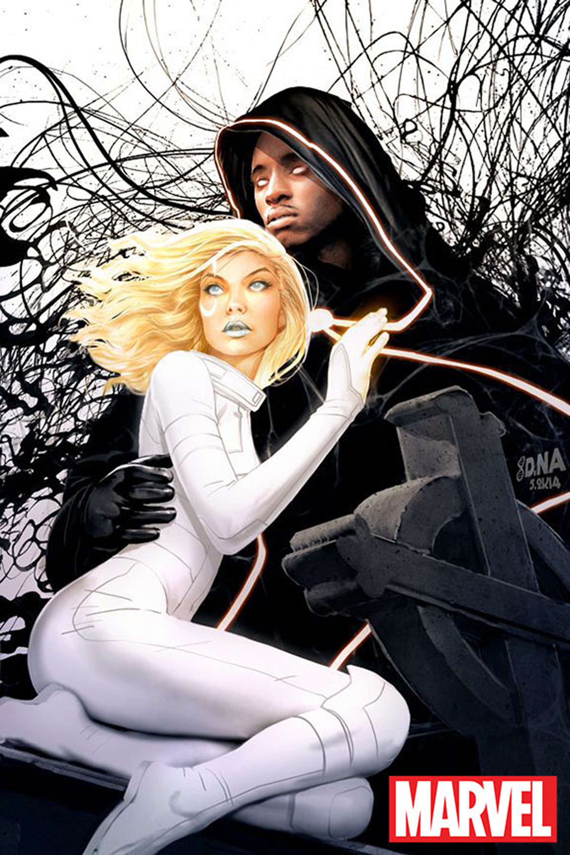 "MARVEL'S CLOAK & DAGGER - ""Marvel's Cloak & Dagger"" is an adaptation of the beloved Marvel characters whose story is aimed squarely at young adults. This live-action interracial romance follows Tandy Bowen and Tyrone Johnson, two teenagers from very different backgrounds, who find themselves burdened and awakened to newly acquired superpowers while falling in love. Tandy can emit light daggers and Tyrone has the ability to engulf others in darkness. They quickly learn they are better together than apart -- but their feelings for each other make their already complicated world even more challenging. ""Marvel's Cloak & Dagger"" is a co-production of Marvel Studios and ABC Signature Studios. (Freeform)"