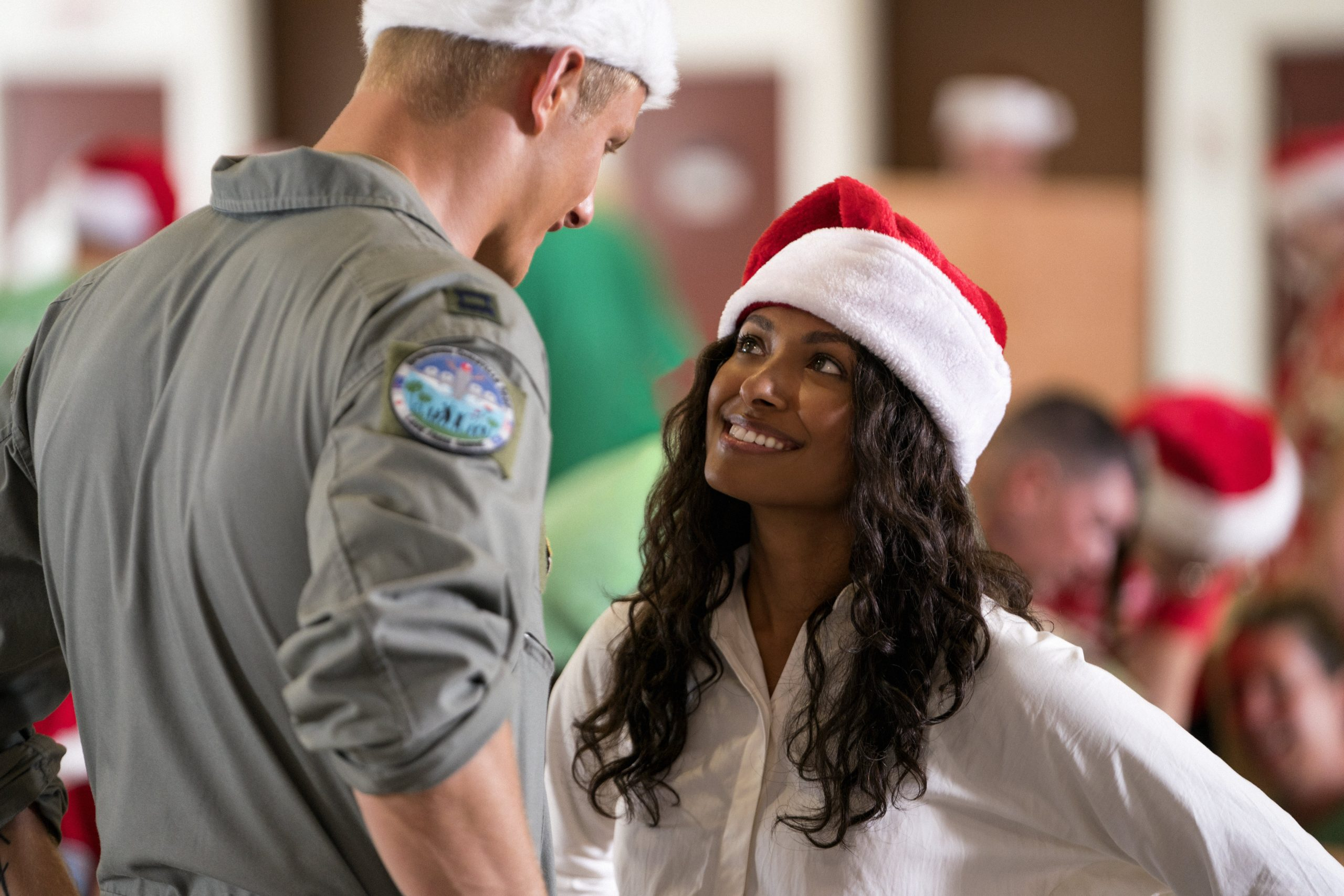 Operation Christmas Drop. Alexander Ludwig as Andrew, Kat Graham as Erica in Operation Christmas Drop. Cr. Ricardo Hubbs//NETFLIX © 2020